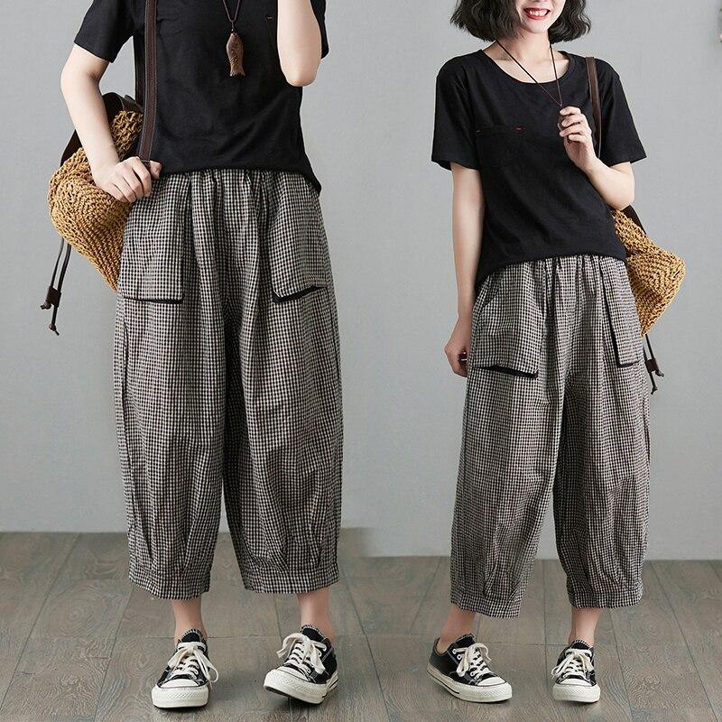 Art Retro Plaid Casual Pants Women's Summer Wear Elastic Waistband Slimming Wide Leg Pants Loose All