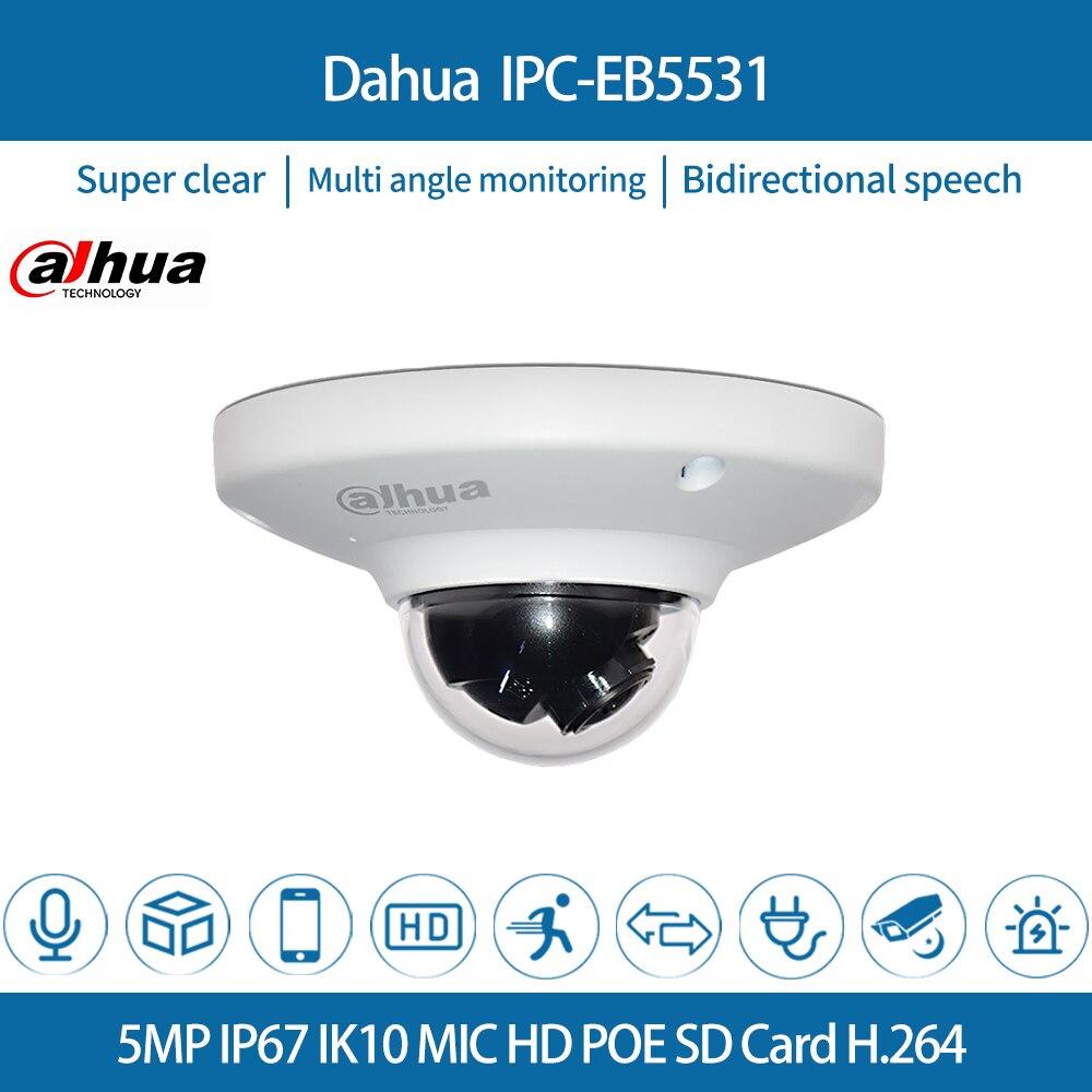 Dahua IPC-EB5531 Original Panoramic Network IP Camera 5MP 1.4mm Built-in Mic CCTV Camera Fisheye H.265/H.264 3DNR IP67 PoE Secur dahua ip camera ipc hdw4433c a 4mp network ip camera onvif built in mic poe 4433c a 4431c a home security cctv h 265 ipc camera