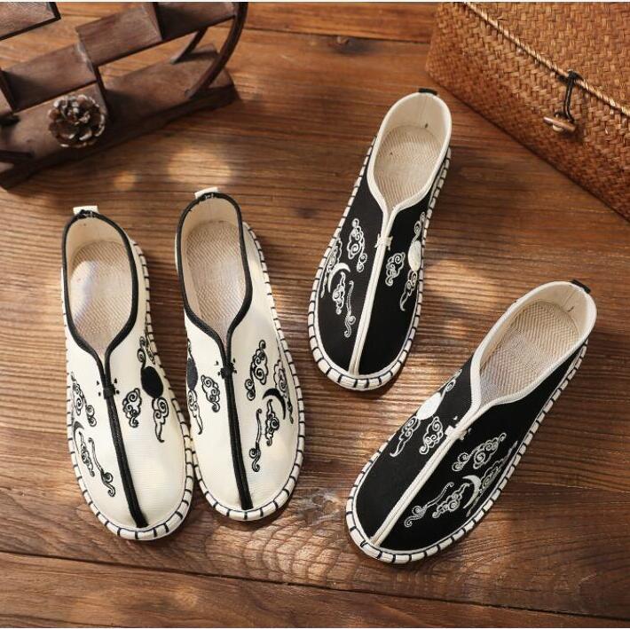 أحذية رجالية من الكتان والقطن ، أحذية على الطراز الصيني مع طبقات من القماش ، مطرزة ، بدواسات مطرزة
