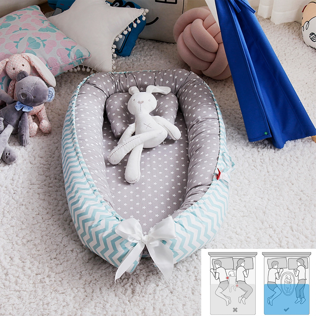 88*53cm Baby Nest Bed Portable Crib Travel Bed Infant Toddler Cotton Cradle For Newborn Baby Bassinet Bumper Free shipping
