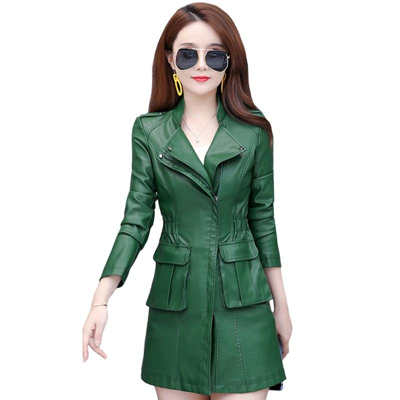 Демисезонные женские кожаные куртки и пальто с большими карманами, повседневное тонкое пальто из искусственной кожи, женское черное длинно...