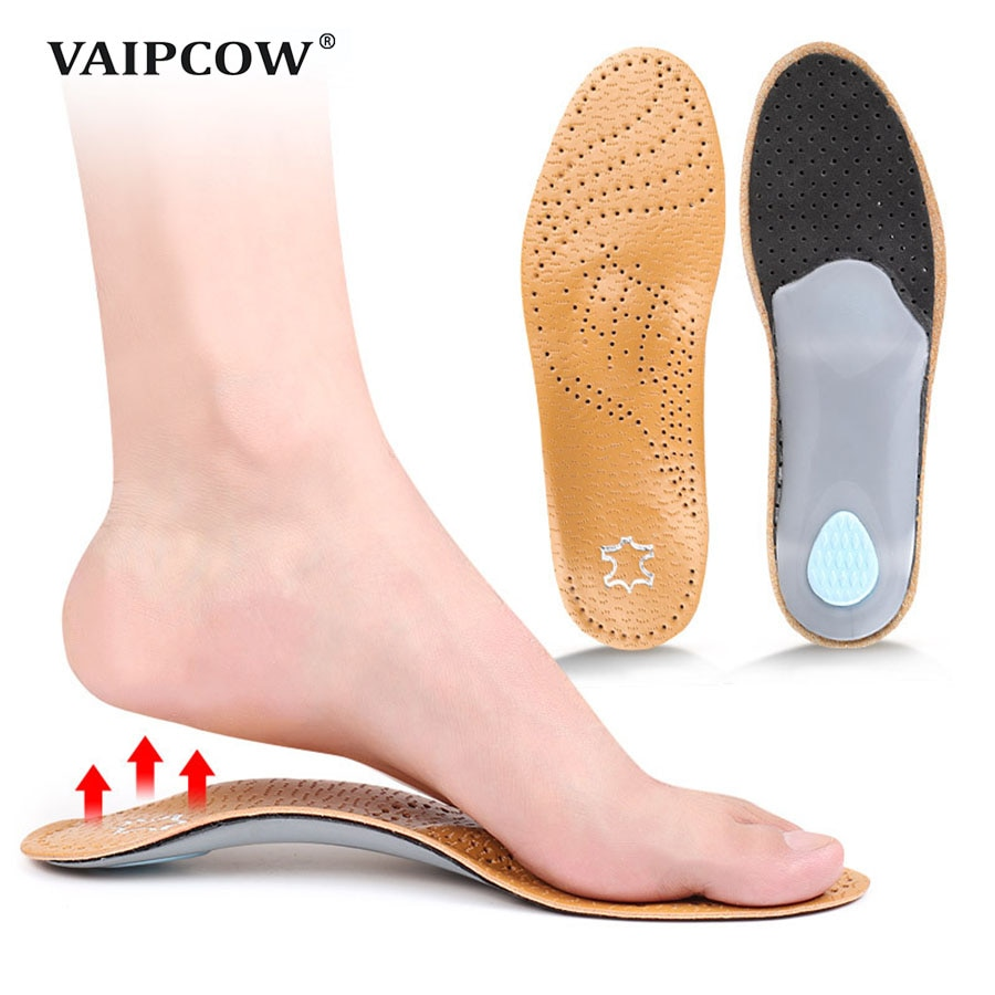 Leather orthotic insole for Flat Feet Arch Support orthopedic shoes sole Insoles for feet men and wo