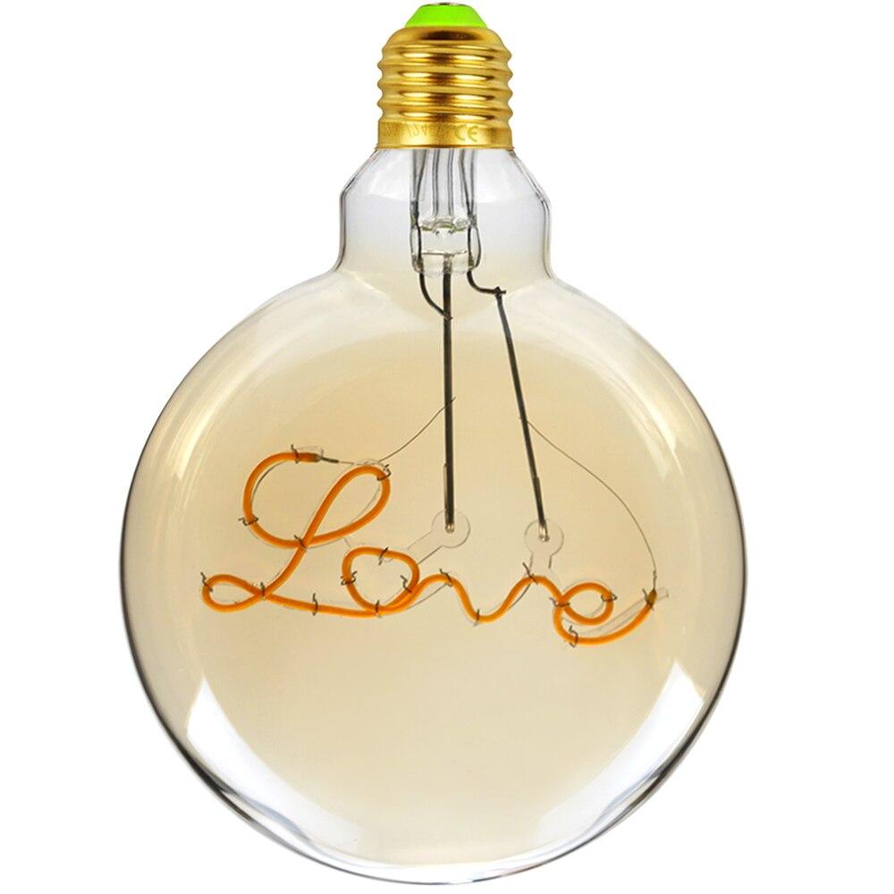 TIANFAN Led Bulb Vintage Light Bulb G125 Round Alphabet Love Led 4W Non Dimmable Pendant Hanging Decorative Bulb 110V 220V