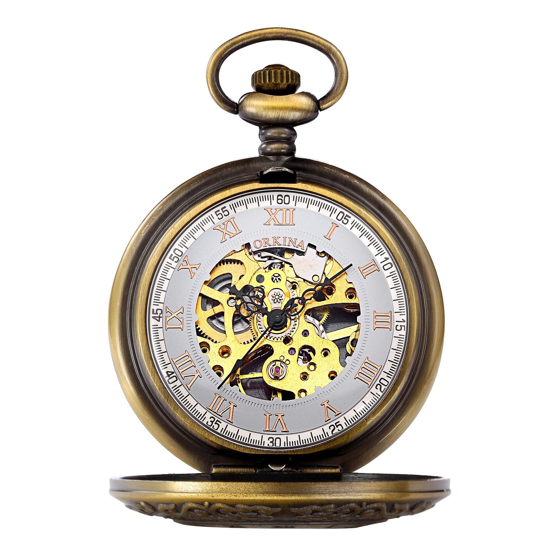 Box Package Mechanical Pocket Watch Fob Chain Locket Dial Hollow Steampunk Skeleton Men Women Mens Male Clock Watches