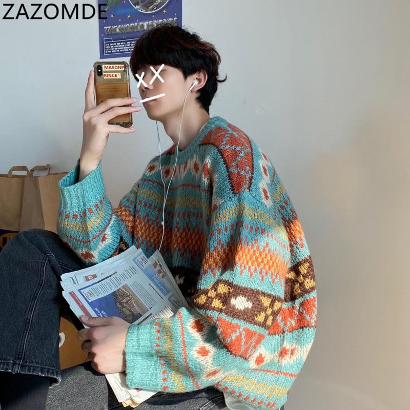 Мужские теплые свитера и пуловеры с принтом в стиле Харадзюку, Корейская уличная одежда для зимняя мужская одежда, новинка 2020