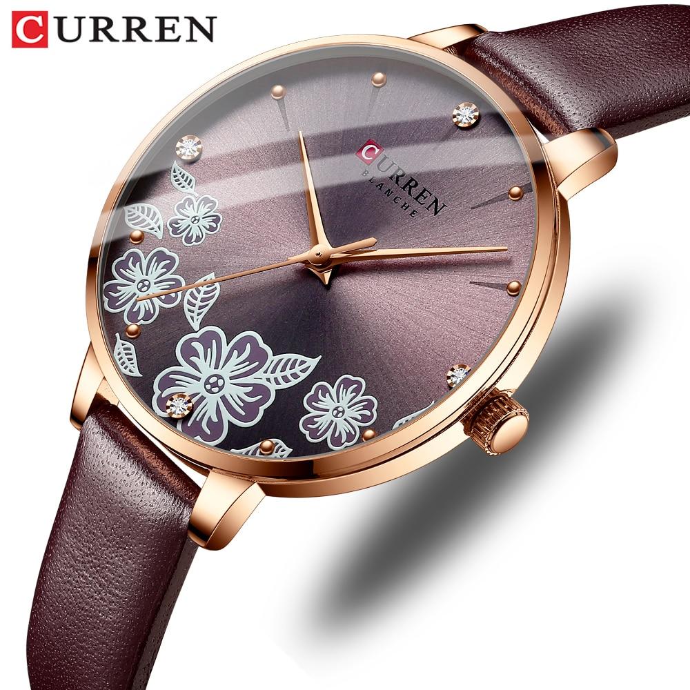 CURREN Watches for Woman Fashion Creative Romantic Flower Dial Quartz Ladies Wristwatches Female Clock