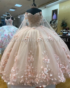 2021 New Arrival Ball Gown Quinceanera Dresses With 3D Flower Applique Ball Gowns Prom Dresses Lace-up Sweet 15 16 Party Gowns