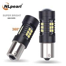 NLpearl 2x Lampe de Signalisation 1156 BA15S P21W LED BAU15S PY21W LED Ampoule 3030SMD 1157 BAY15D P21/5W Voiture Clignotant Feu Stop Lampe 12V