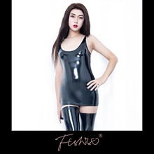 Ftshist Shiny Patent Leather Dress Woman Latex Coating Vest One-Piece Bodycon Tight Fit Solid Sleeve