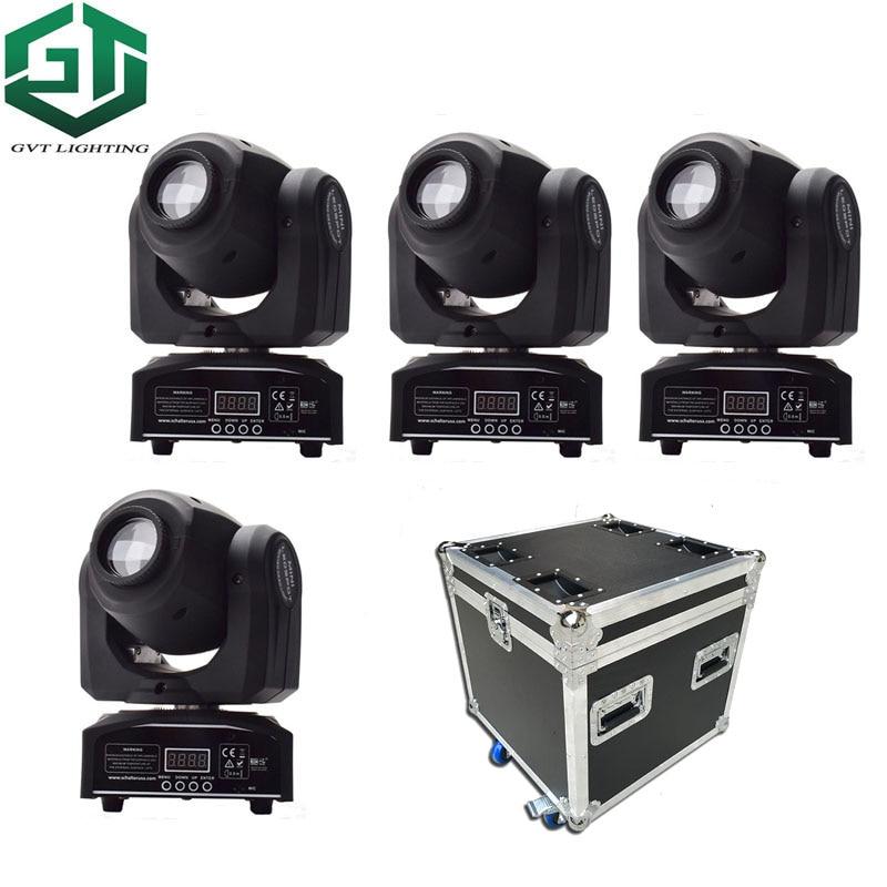 4 Uds 30W mini cabeza móvil con caja de luz de embalaje LED Spot luz con cabezal móvil EUA Luminums 30W Luz de foco LED para DJ