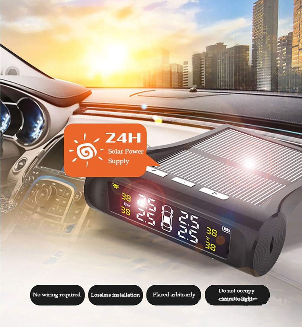 Solar Power TPMS Car Tire Pressure Monitoring for SUV Temperature Warning System Security Alarm Syst