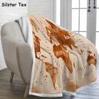 silstar tex world map sherpa blanket fluffy print stitch adult tv cover sofa bed farbic bedspreads for bed