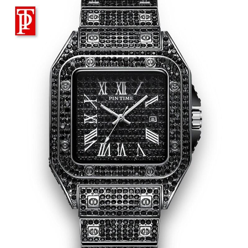 Diamante moda relógio masculino marca superior 2020 novo luxo clássico designer aço inoxidável banda preto relógios para homem reloj hombre