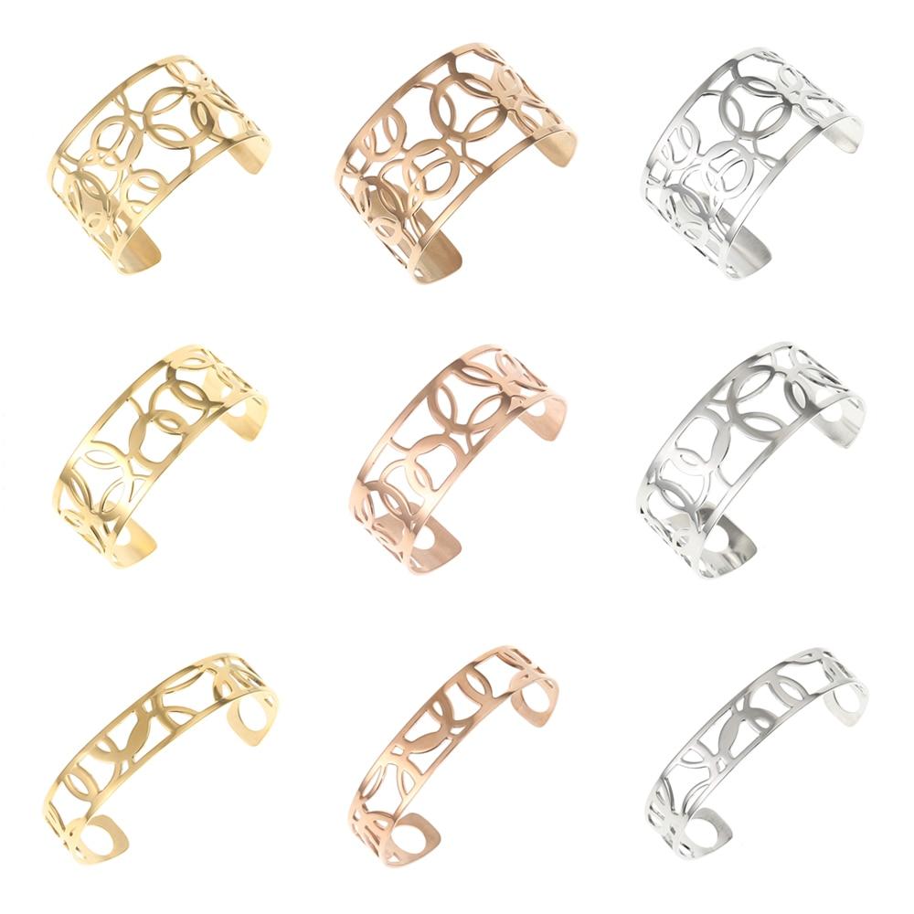 Legenstar pulsera de Aro y brazalete Argent Femme Georgette Manchette pulsera de acero inoxidable Reversible intercambiable Pulseiras