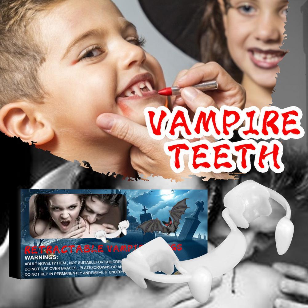 Halloween Decoration Vampire Teeth Fangs Bloody Retractable Teeth Blood Garland Banner Horror Vampire Party DIY Decor vampire teeth with artificial blood gel