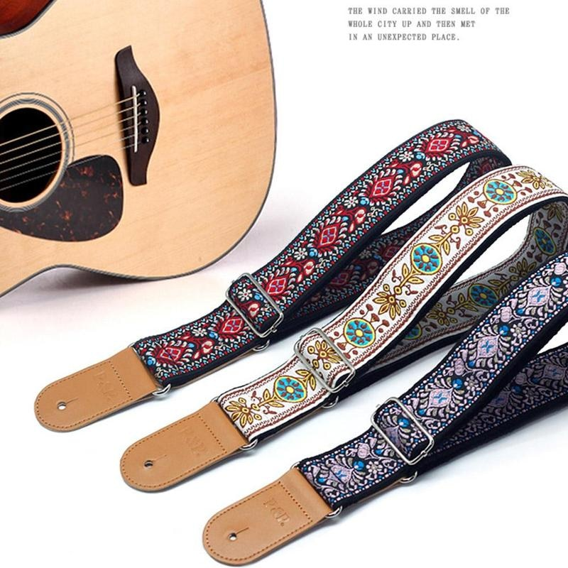 2021 Popular Embroidery Bass Guitar Strap Adjustable Length Cotton Strap Bass Guitar Accessories