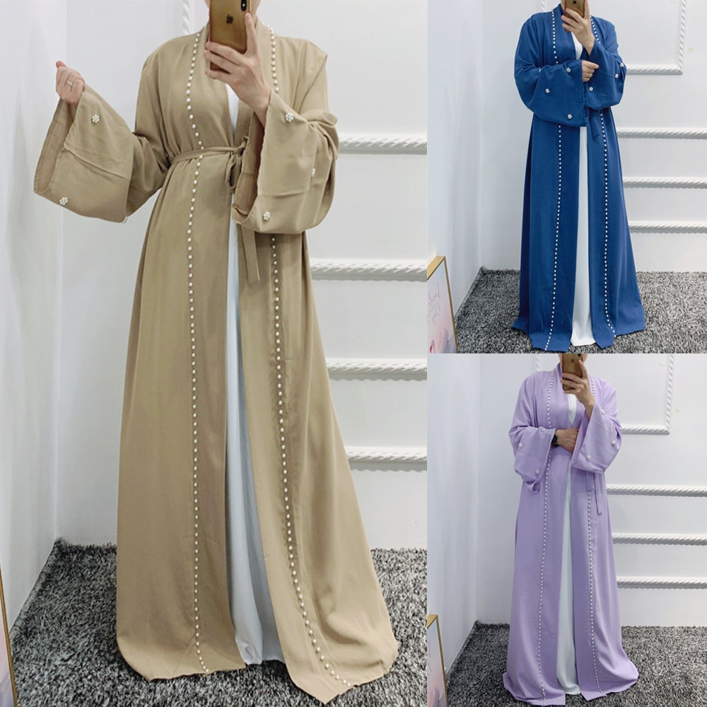 لون سادة موضة خرز عباية نسائية إسلامية كيمونو مفتوح الشرق الأوسط قفطان عربي دبي كارديجان ملابس إسلامية عيد رمضان