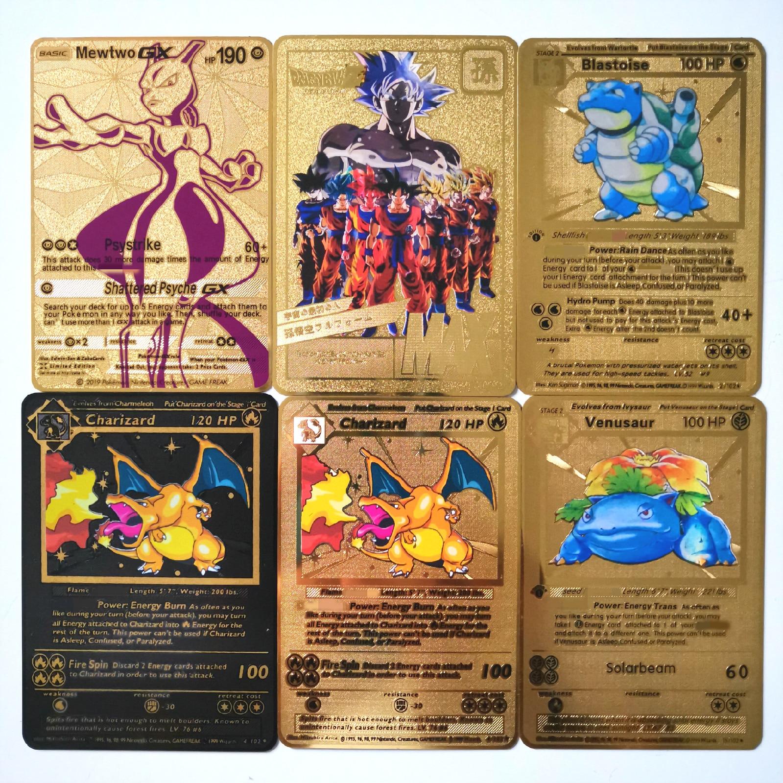 Dragon Ball Tarjeta de Metal dorada súper juego colección cartas de Anime juego niños juguete
