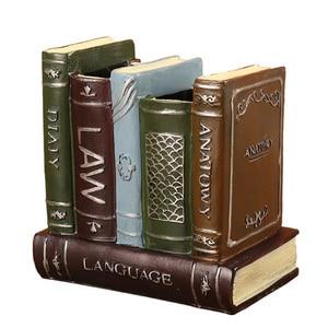 Nostalgic Vintage Book Model Home Decoration Pen Holder Resin Figurines Desk Decor Sundries Container Classic Book Ornaments