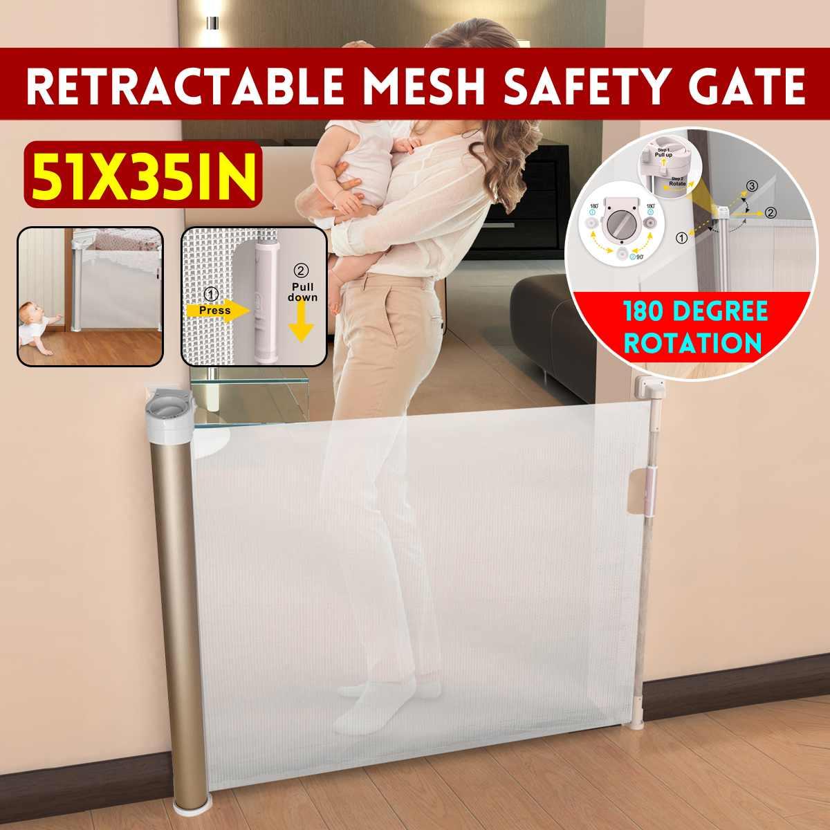 180 ° Rotation rétractable en métal chien porte garde de sécurité maille clôture bébé escalier Isolation maison Net 51x35 pouces