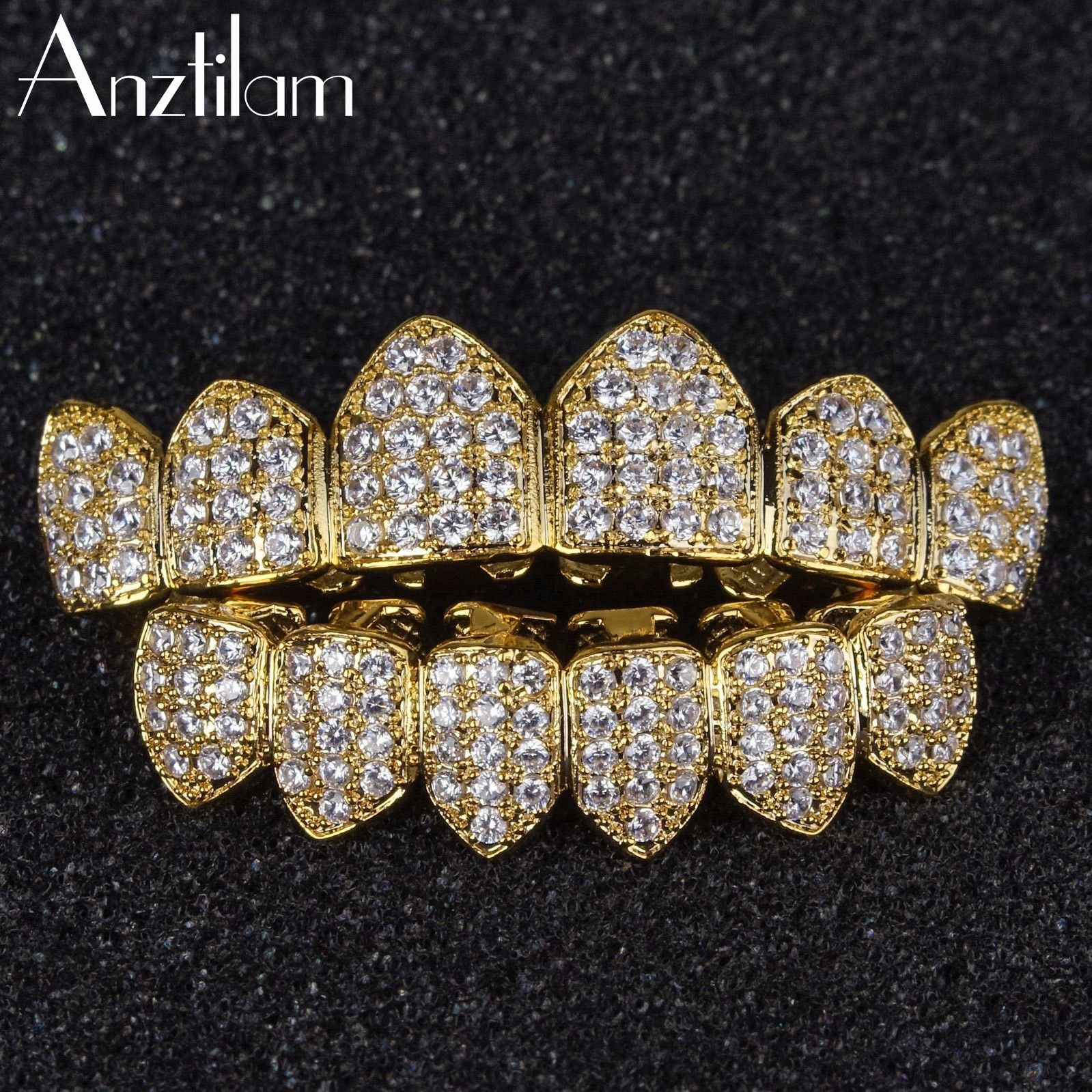 Hip Hop Micro Paved Bling Cubic Zirconia Iced Out Teeth Grillzs Top & Bottom Set Dental Grills Men�