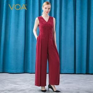 VOA Silk 30m/m  V Collar Sleeveless Diamond Three-dimensional Decorative Oblique Pocket Agate Red Jumpsuits Women KE266