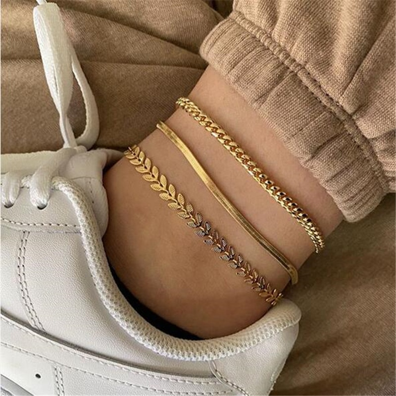 3pcs/set Gold Color Simple Chain Anklets For Women Beach Foot Jewelry Leg Chain Ankle Bracelets Women Accessories  - buy with discount