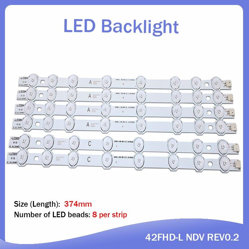 "Tira de LED para iluminación trasera para Hitachi 42 ""pulgadas 374mm 8 lámpara Innotek 42FHD-L NDV REV0.2 42HXT12U VES420UNDL-N01 42HXT12U LED42F7275"