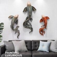 Décoration murale créative de poisson rouge   Autocollant mural en Relief 3D, décoration artisanale en résine R3923