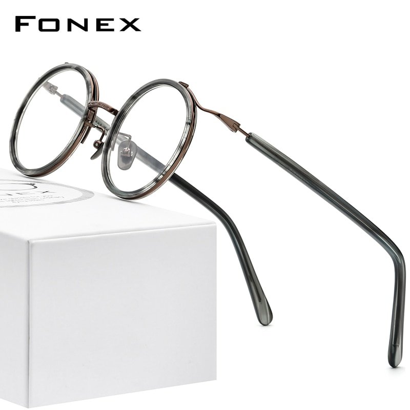 FONEX Acetate Titanium Glasses Women 2020 New Round Prescription Eyeglasses Men Myopia Optical Frame Eyewear for Small Face 8524