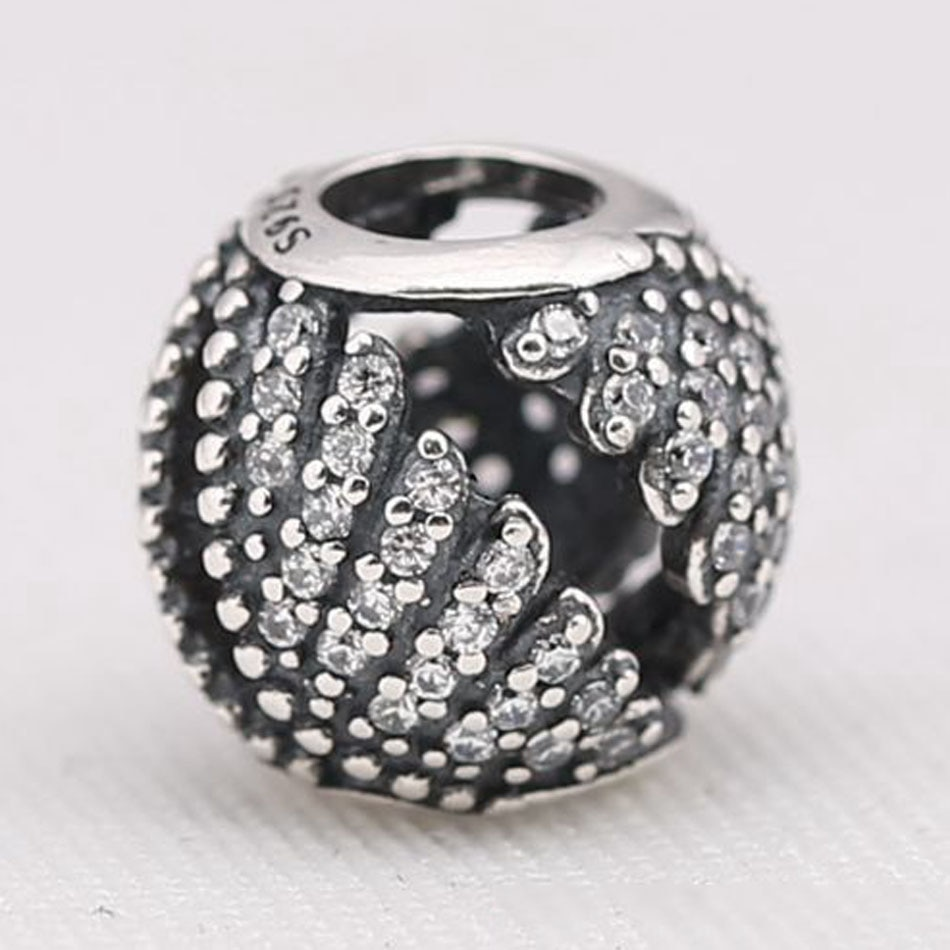 Authentieke S925 Zilveren Kralen Diy Sieraden Majestic Veren Charm Fit Lady Armband Pave Clear Cz