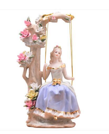 Columpio, caballo europeo creativo, regalo de boda, muebles para el hogar, armario de vino para sala de estar, TV, Arca, adornos para manualidades, muñeca para niña