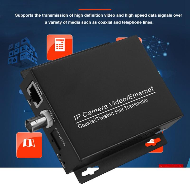 1Pair Ethernet IP Extender Over Coax HD Network Kit EoC Coaxial Cable Transmission Extender for Security CCTV Cameras enlarge