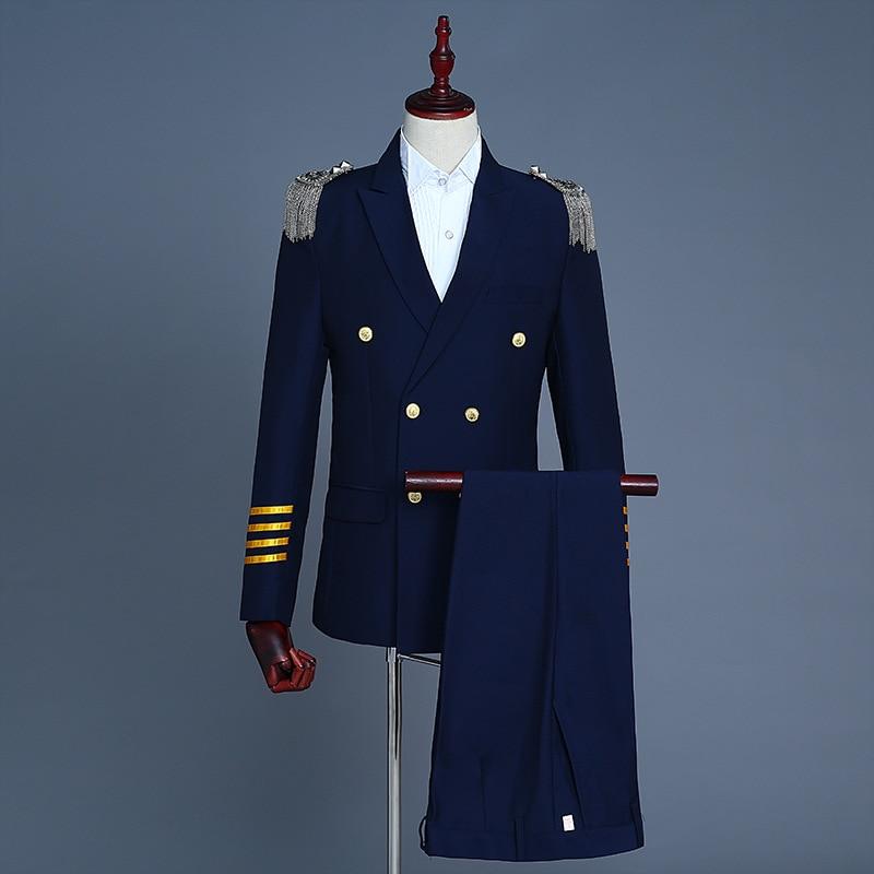 زي كابتن البحرية Sailor Peacoat للرجال ، بدلة بليزر بشراشيب عسكرية ، جاكيت موحد للبالغين مع بنطلون