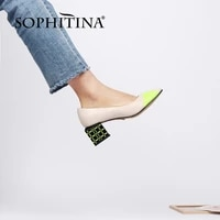 sophitina stylish genuine leather women shoes pumps strang heels medium shallow dress high quality spring autumn round toe pc997