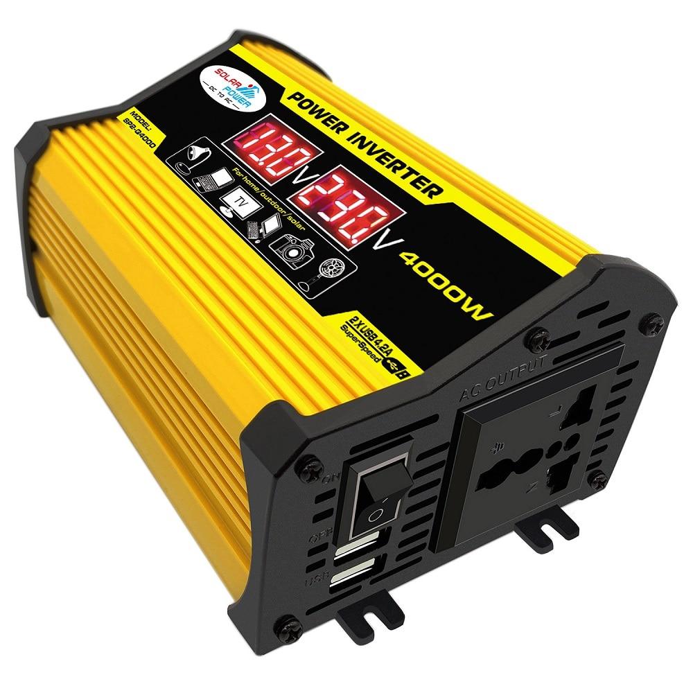 Onduleur numérique pour voiture, à onde sinusoïdale modifiée 400W, 12V vers 220/110V, convertisseur de tension + écran Lcd, appareils ménagers pour la voiture