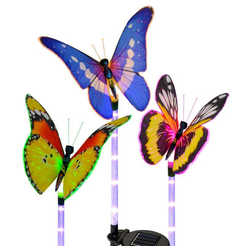 3 шт./компл., солнечные садовые фонари, водонепроницаемые, солнечные бабочки, садовые декоративные светодиодные фонари, солнечные колышки дл...