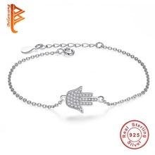 Trendy 925 Silver Chain Bracelet Women Round Long Bar Hamsa Hand Crystal Link Chain Bracelet Female Sterling Silver Jewelry 2019