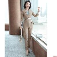 2020 green apricot plaid formal blazer women pant suit long sleeve jacket ladies business clothes work wear 2 pieces suits sets