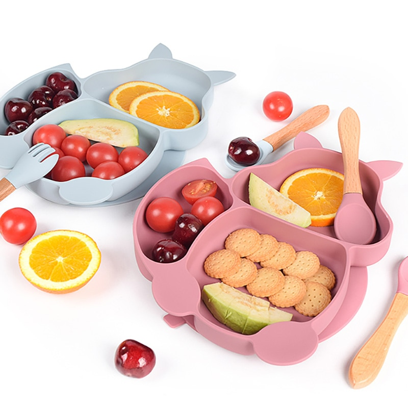 ABDL 7pcs/Set Baby Free BPA Non-Slip Plates With Sucker Solid Colour  Waterproof Portable Feeding Fork Spoon Kids Food Bowl Set