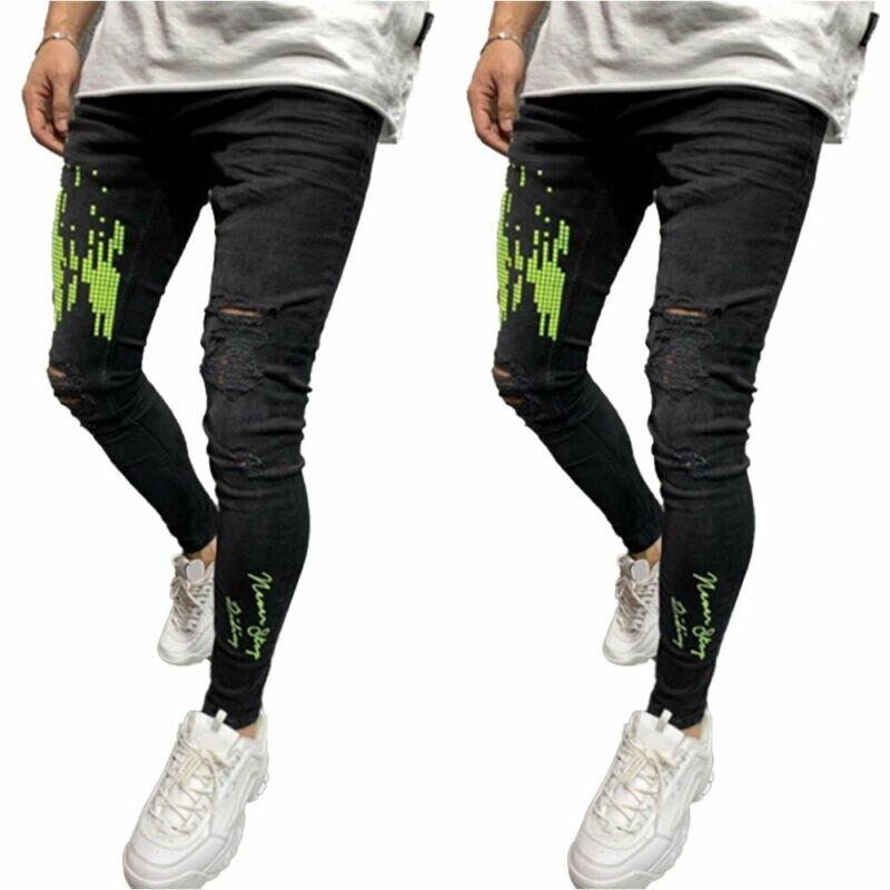 Мужские зауженные джинсы, рваные зауженные Стрейчевые брюки с потертостями и принтом