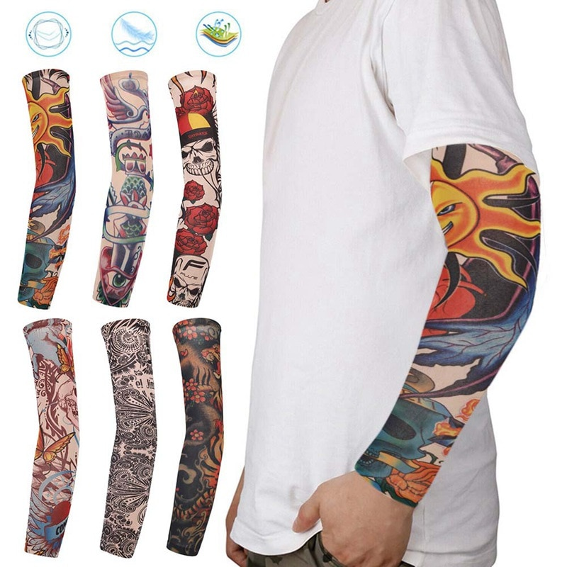 fashion tattoo sleeves sunscreen arm warmer unisex uv protection outdoor temporary fake tattoo arm sleeve warmer sleeve mangas 1pcs 10 Styles Fake Temporary Tattoo Sleeves Arm Warmer Unisex UV Protection Outdoor Temporary Fake Tattoo Arm Sleeve Warmer