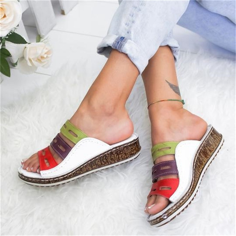 New Women Summer Stitching Sandals Casual Slip on Open Toe Sandals Rome...