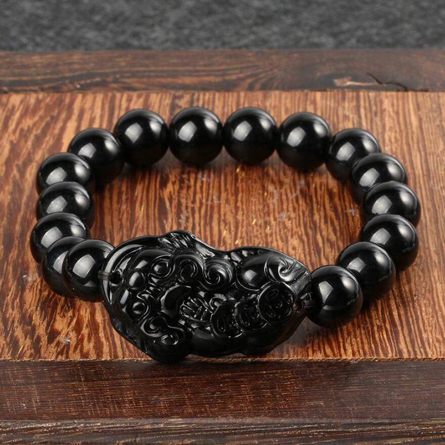פנג שואי Pi Xiu אובסידיאן שחור אבן חרוזים צמיד גברים נשים צמיד זהב עושר וטוב מזל צמידים