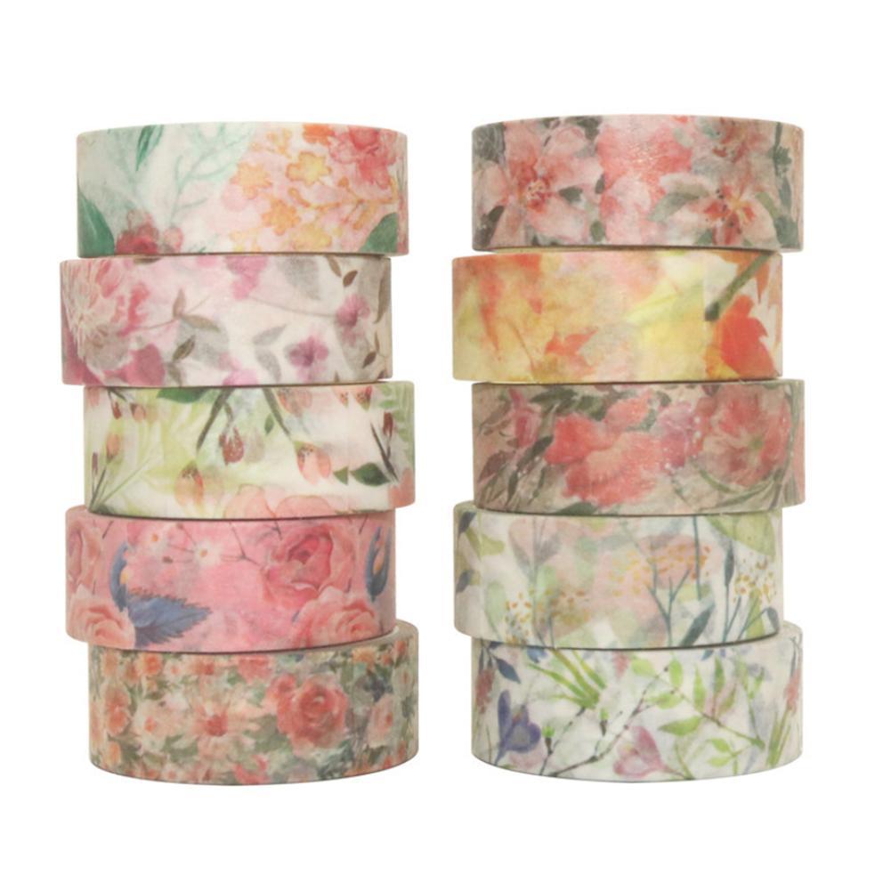 40PCS/Set Floral Masking Tape Spring Flower Decorative Paper Tapes For Arts DIY Crafts Journal Planner Gift Wrapping Decoration