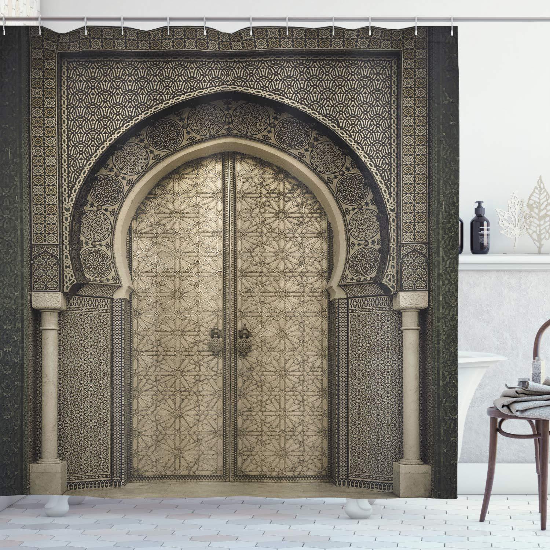 Cortina de Chuveiro Cortinas do Banheiro Marroquino Portão Envelhecido Padrão Geométrico Porta Design Entrada Arquitetônico Estilo Oriental