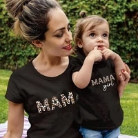2021 fashion summer new pullover round neck short sleeve parent child family solid color letter printed mother daughter t shirt
