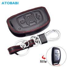 Étui à clés en cuir pour Hyundai IX20 IX30 IX35 I40 IX25 Tucson Elantra Verna Sonata 3 boutons Smart télécommande porte-clés