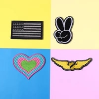 black scissor hand embroidered question mark wings patches for clothes two color love appliques 3d diy coat hat brand badges