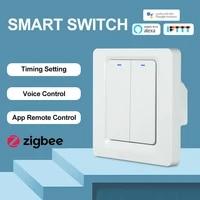 Zigbee     interrupteur intelligent  2 3 boutons  Standard EU UK  pour la maison  compatible avec Alexa Google Assistant  avec un seul fil en direct